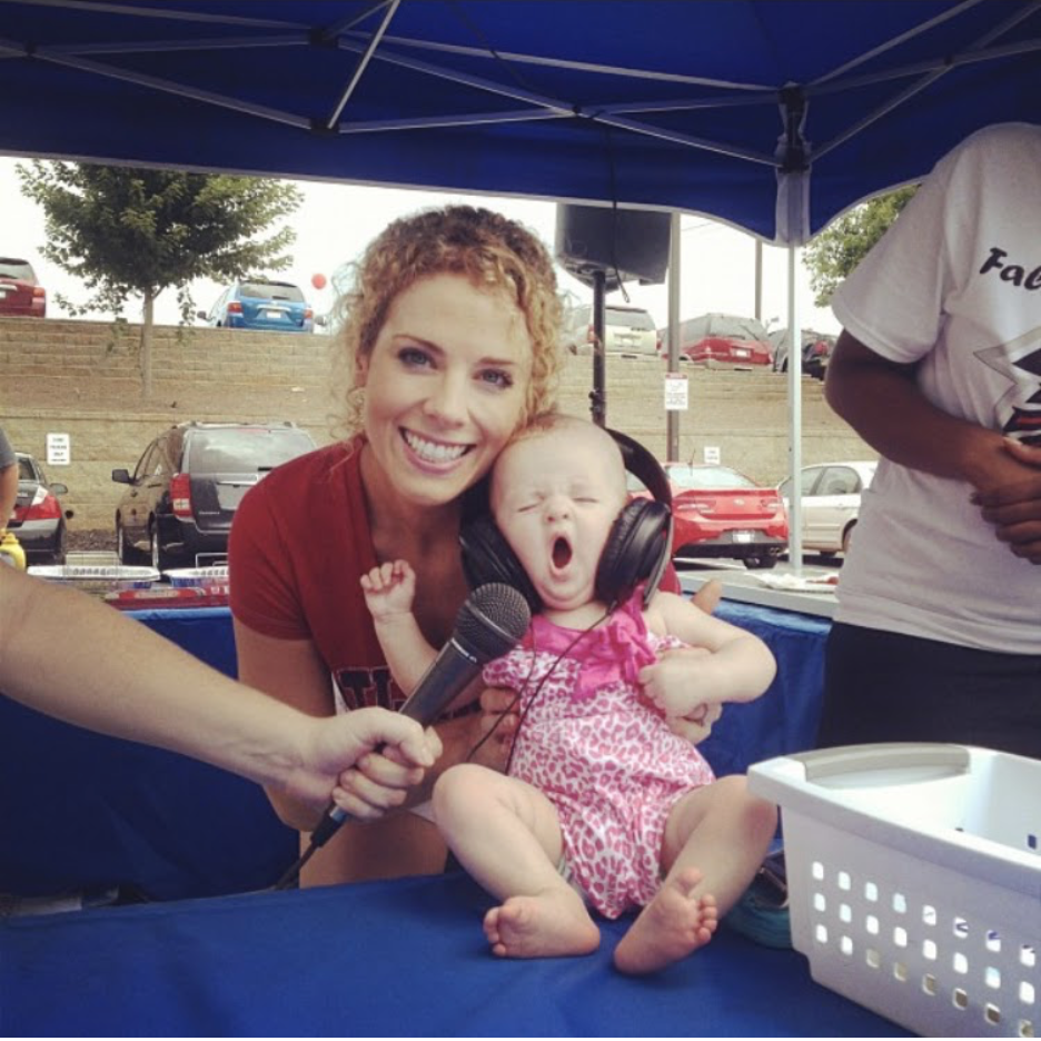 Heidi Rew and a cute baby with some sound headphones
