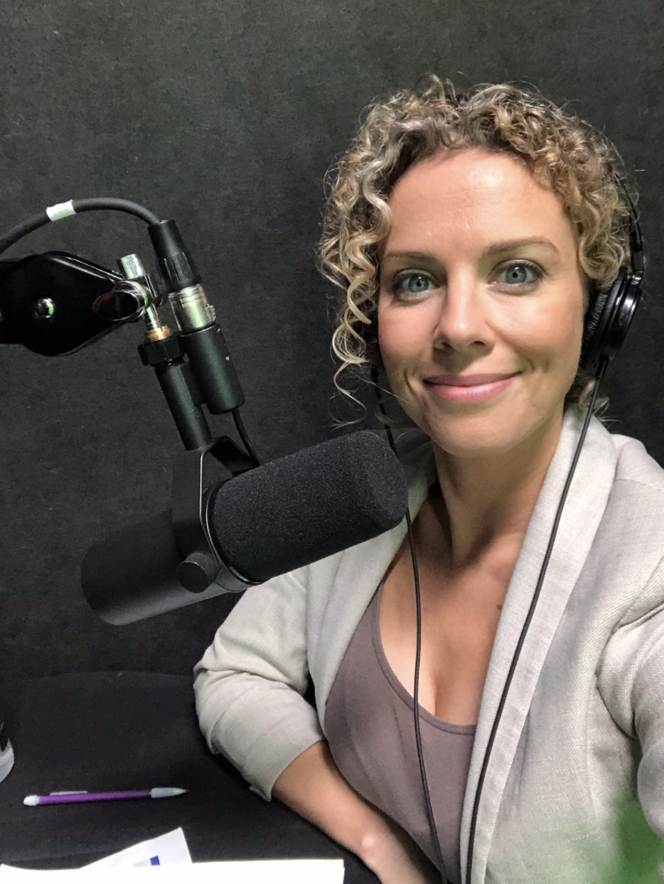 Heidi Rew in a VO Booth by herself for LIVE VO gig